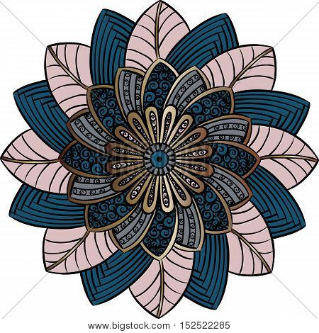 Drawing of a floral mandala in pink and blue colors on a white background. Hand drawn tribal  vector stock illustration