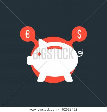 piggy bank with currency sign in red bubble. concept of poverty, commerce, frugality, economics, success, payment, thrift. flat style trendy modern logo design vector illustration