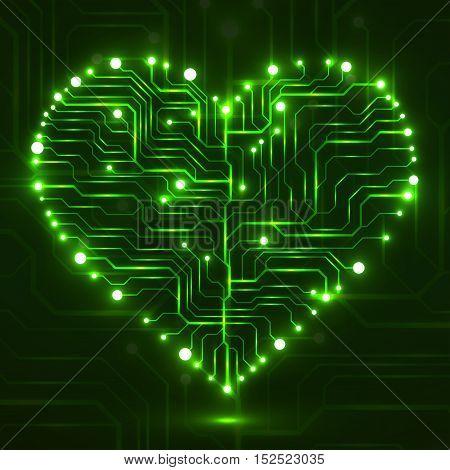 Eletronic circut board in shape of heart. Technology illustration