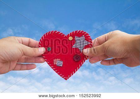 'Sweet Home' velvet sign on sky, handmade, heart shape