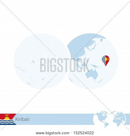Kiribati On World Globe With Flag And Regional Map Of Kiribati.