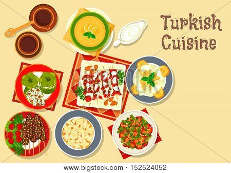 Turkish cuisine grilled kebab and meatball kofte icon with stuffed pepper dolma, meat dumpling, bean stew, lentil cream soup and quince fruit dessert with coffee