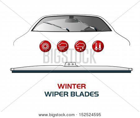 Vector Illustration Car Wiper Blades.