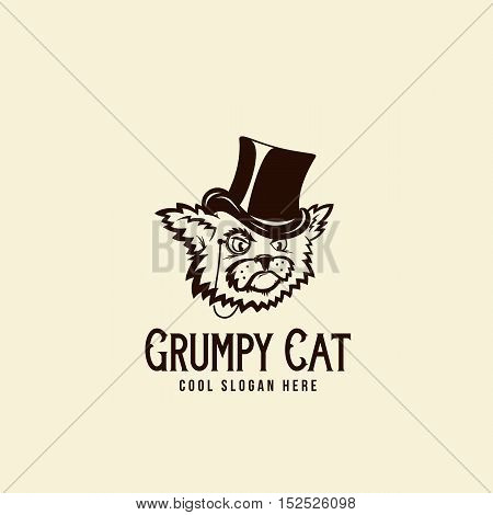 Grumpy Rich Cat in a Cillinder. Abstract Vintage Vector Sign, Symbol or Logo Template with Retro Typography. Isolated.