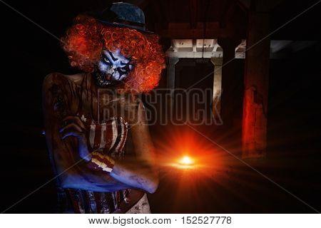 Bloody scary clown. Halloween. Horror.