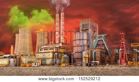 The concept of environmental pollution. Working Plant on a background of dirty skies and dry ground. Save the planet. 3D illustration