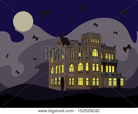 Postcard Halloween with abandoned mansion. For your convenience, each significant element is in a separate layer. Eps 10