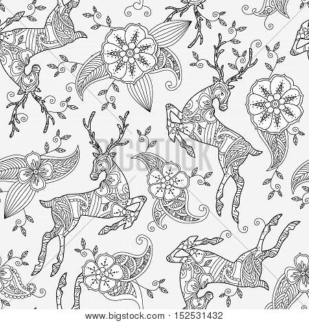 Seamless pattern with running deer and floral motif hand drawn isolated on white background. Can be used for coloring book for adult and older children. Vector illustration.