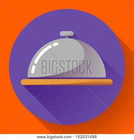 Restaurant cloche vector icon. Room Service Symbol Button. restaurant metal tray flat icon with long shadow