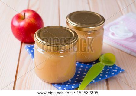 Apples puree in jar - baby nutrition
