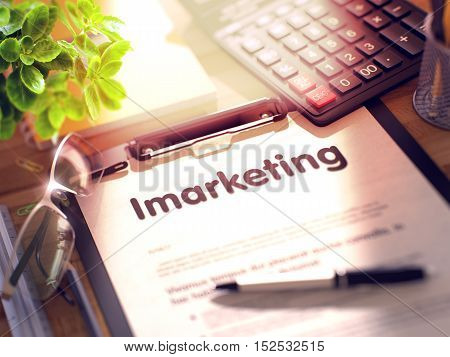 Office Desk with Stationery, Calculator, Glasses, Green Flower and Clipboard with Paper and Business Concept - Imarketing. 3d Rendering. Blurred and Toned Image.