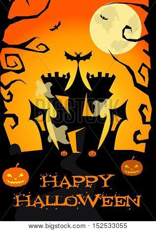 Halloween poster with castle, ghosts, pumpkins, trees bats, Jack-o lantern