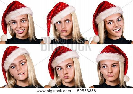 Collage of smiling young woman in red christmass hat over white background