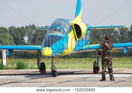 Vasilkov Ukraine - August 3 2012: Ukrainian Air Force Aero L-39 Albatros in national colors is preparing for a training flight