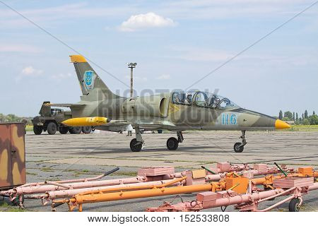 Vasilkov Ukraine - August 3 2012: Ukrainian Air Force Aero L-39 Albatros in camouflage painting is preparing for a training flight