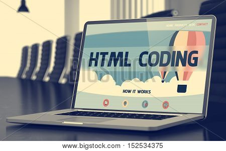 Html Coding on Landing Page of Laptop Screen in Modern Meeting Room Closeup View. Toned Image with Selective Focus. 3D Rendering.