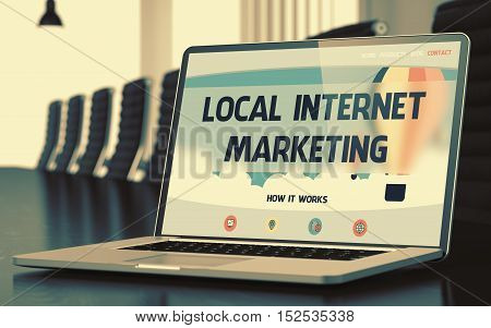 Local Internet Marketing on Landing Page of Mobile Computer Display. Closeup View. Modern Conference Room Background. Toned Image. Blurred Background. 3D Render.