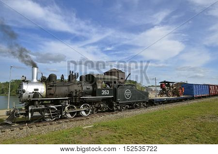 ROLLAG, MINNESOTA, Sept 1. 2016: A restored operating locomotive stream powered train is displayed at the annual WCSTR farm show in Rollag held each Labor Day weekend where 1000's attend.