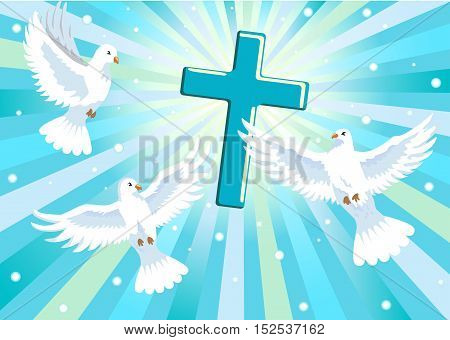 three doves and cross in blue sky