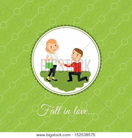Man make a proposal to marry, valintines day card template with green background. Vector illustration