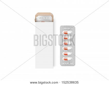 Blank white pill box design mockup isolated 3d illustration. Clear blister pillbox template mock up with lozenge. Opened tablets cardboard container. Blister with drug capsule branding