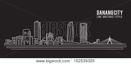 Cityscape Building Line art Vector Illustration design - Danang city