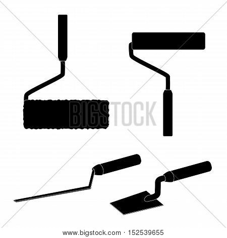 House repairs tools. Joint filler, paint roller, square trowel, wallpaper roller. Tools for repair. Silhouettes, white details