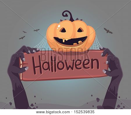 Vector Halloween Illustration Of Zombie Hand In A Graveyard With Wooden Board, Orange Pumpkin, Web,