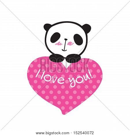 Greeting card for Valentine's Day, birthday, Mother's Day, wedding with little cute panda and heart. Hand drawn panda for your design. Doodles, sketch. Vector.