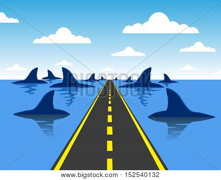 Headed For Danger Business Concept  On A Straight Road Towards A Group Of Dangerous Sharks As A Meta
