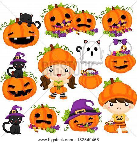 Halloween Pumpkin set, a set of halloween character