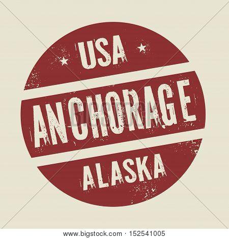 Grunge vintage round stamp with text Anchorage Alaska vector illustration