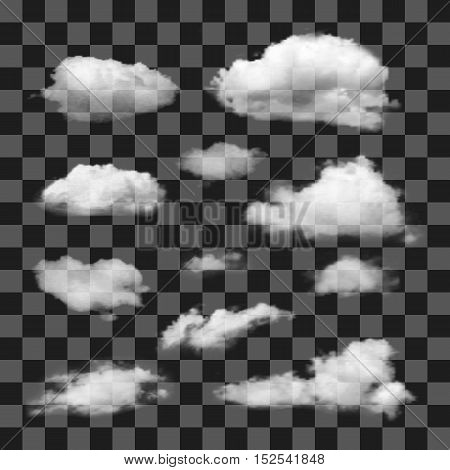Set of transparent realistic different clouds. Vector.