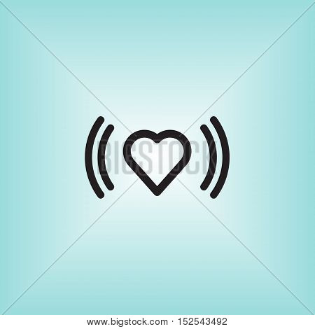Heart beat vector sign. Heart beat isolated icon. Arrhythmia indicator vector symbol.