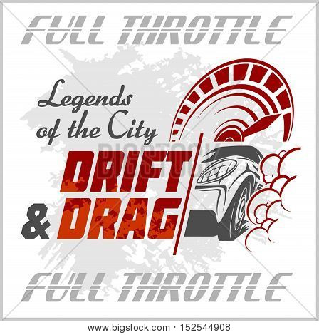 Drifting Car - vector emblem for racing club. Drift and Drag on white background.