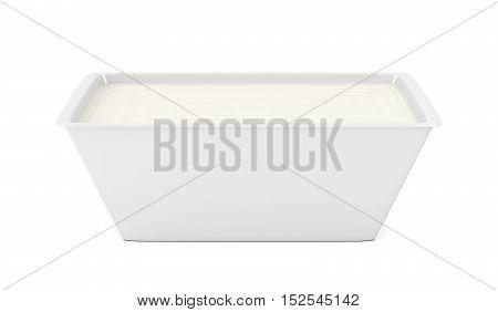 Margarine in open plastic packaging on white background, 3D illustration