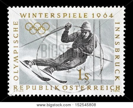 AUSTRIA - CIRCA 1964 : Cancelled postage stamp printed by Austria, that shows Slalom.