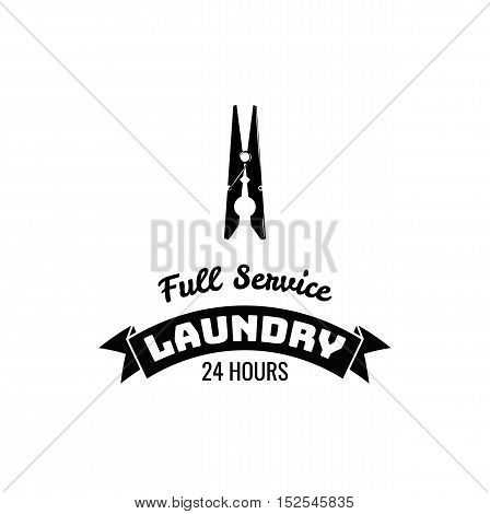 Clothespin laundry and dry cleaning logo, emblem and design element. Vector Illustration. Full Service Laundry