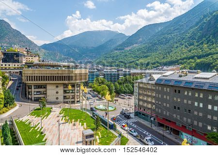 ANDORRA LA VELLA,ANDORRA - AUGUST 29,2016 - In the streets of Andorra la Vella. Andorra is the capital of the Principality of Andorra and is located high in the east Pyrenees .