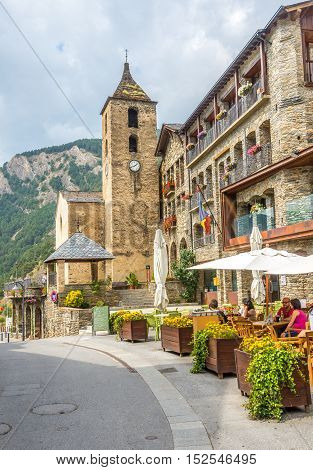 ORDINO,ANDORRA - AUGUST 29,2016 - Church of Saint Corneli and Cebria in Ordino . Ordino is the most northerly parish in the Principality of Andorra.
