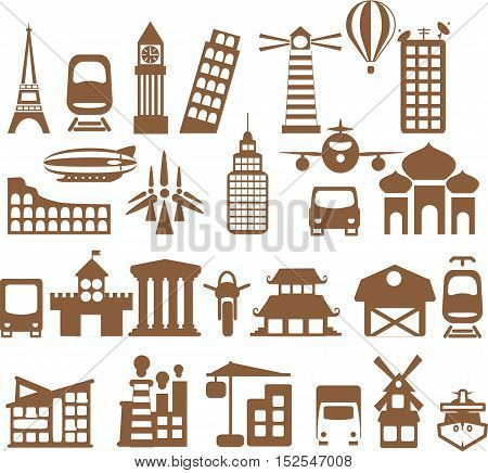 Vector city icons - different houses and transportatio