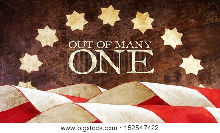 Out of Many One. USA motto. Stars and Stripes. From Latin E Pluribus Unum