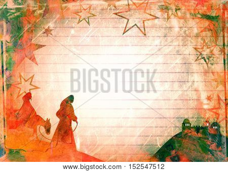 A grunge style Christmas Mary and Joseph background page designed with hand painted watercolour effects.