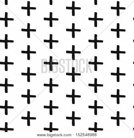 Vector seamless pattern. Abstract background with simple graphic. Monochrome hand drawn print. Hipster monochrome texture with crosses or pluses. Trendy graphic design.