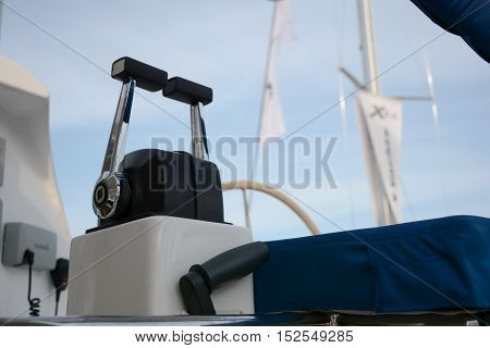 Close up throttle lever on motor boat (or central gear) on luxury boat