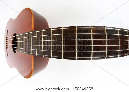 the photo of guitar by using a fisheye lens