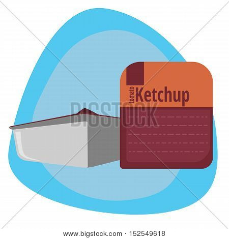 Stylized packaging ketchup on a colored background, the independent design element
