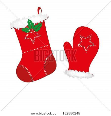 Christmas Stocking and Mitten isolated on a white background