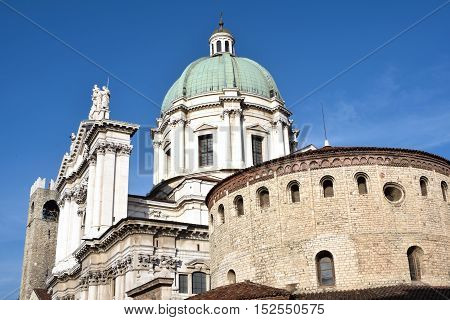 View of two churches in Piazza del Duomo in Brescia in Lombardy - Italy