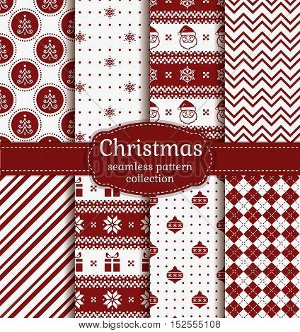 Merry Christmas and Happy New Year! Set of red and white seamless backgrounds with holiday symbols: Santa christmas tree snowflakes christmas balls gifts and abstract patterns. Vector collection.